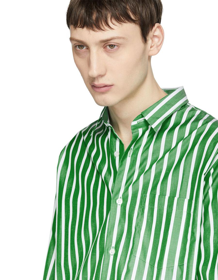 AMI ALEXANDRE MATTIUSSI Green & White Summer Fit Shirt
