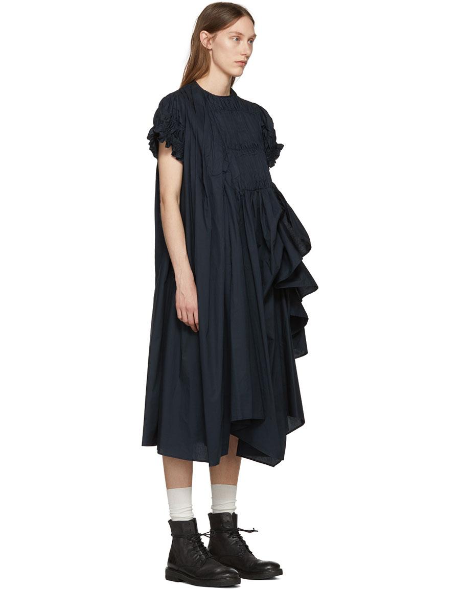 CHIKA KISADA Navy Mid Length Ruffle Dress