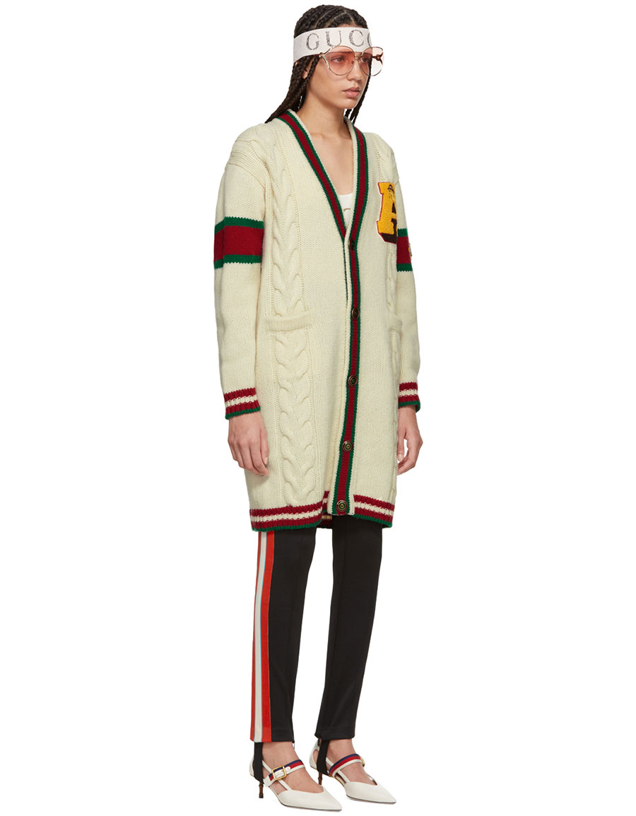 GUCCI White Wool 'Guccy' Tiger Cardigan