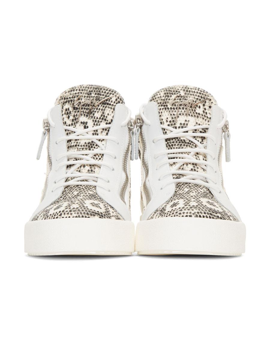 GIUSEPPE ZANOTTI Black & Off White Snake May London High Top Sneakers