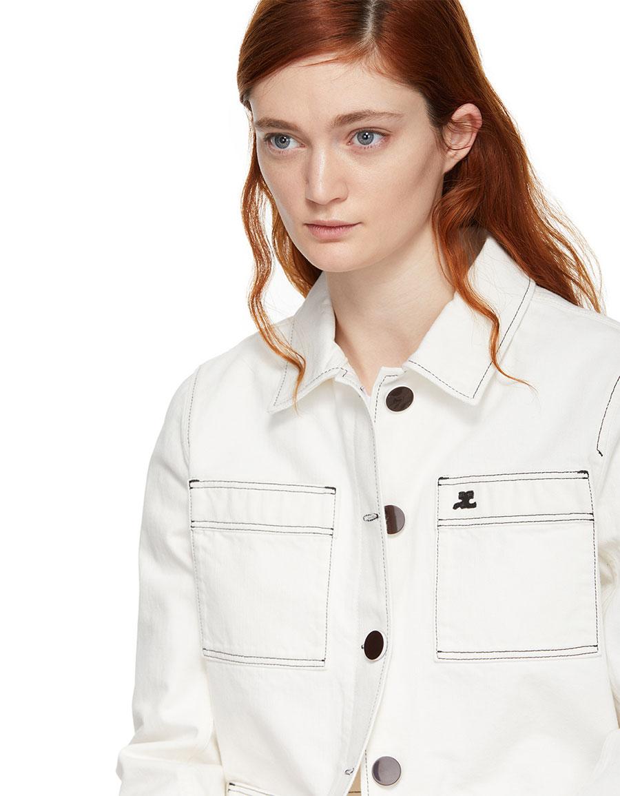 COURRÉGES White Denim Four Pocket Jacket