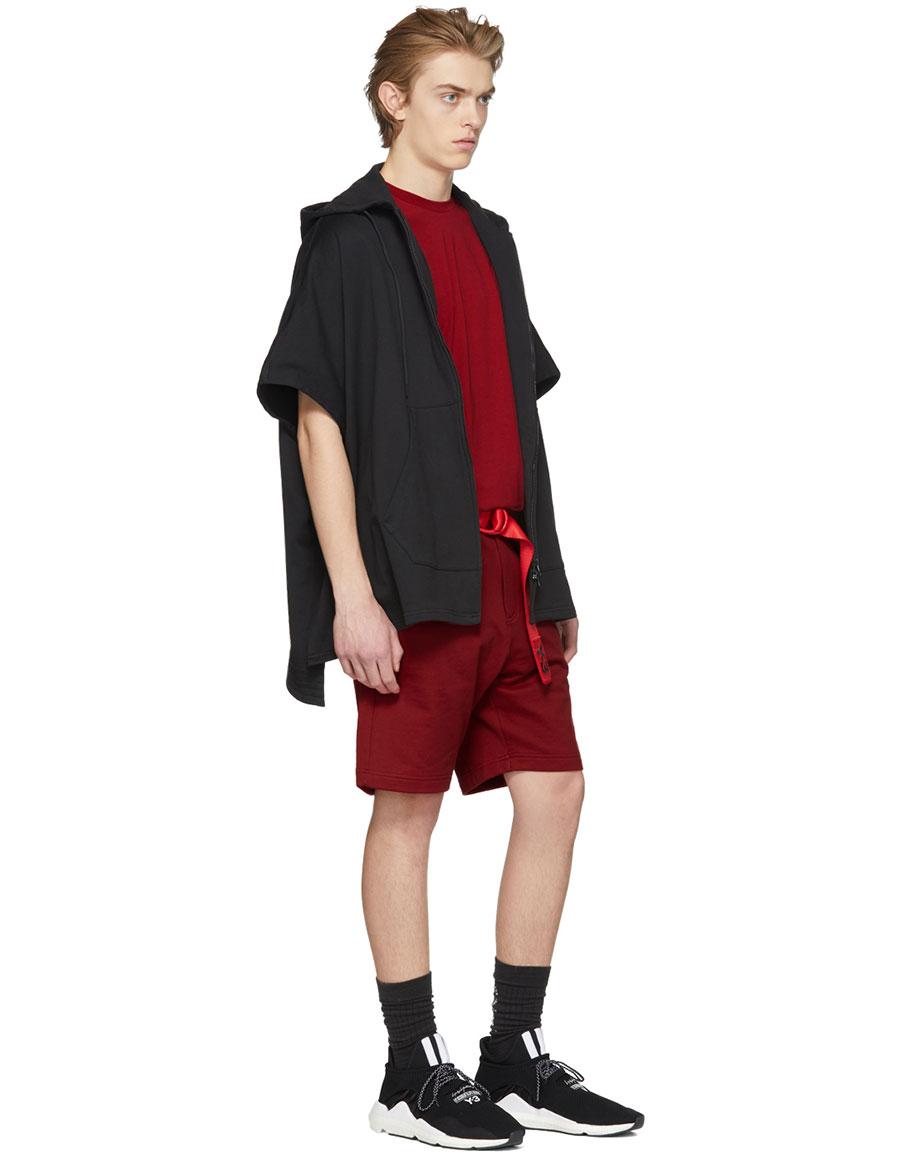 Y 3 Red Classic Logo Shorts