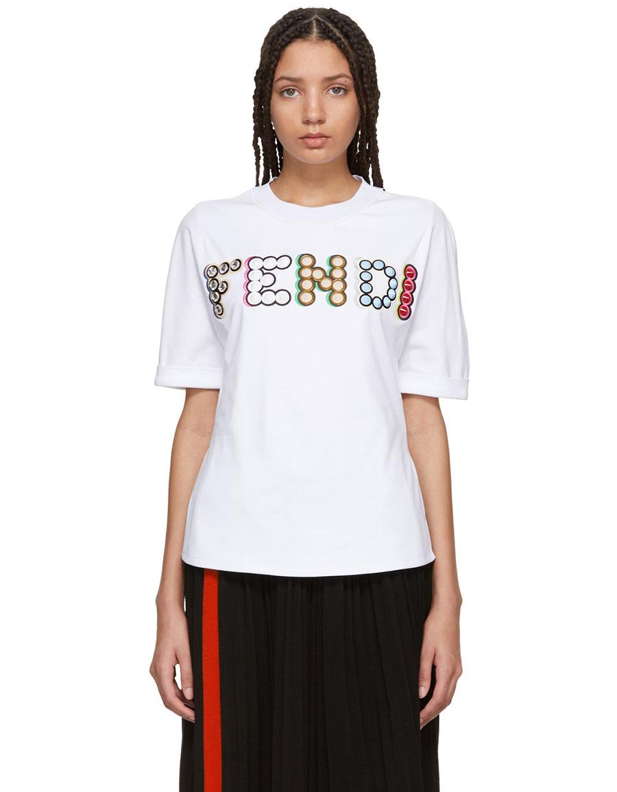 FENDI White Stone Logo T Shirt
