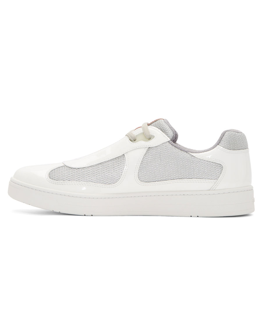 PRADA White Patent Leather & Mesh Sneakers