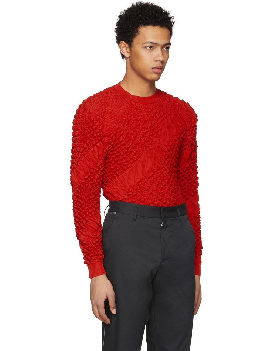 KENZO Red Heat Bubble Knit Sweater