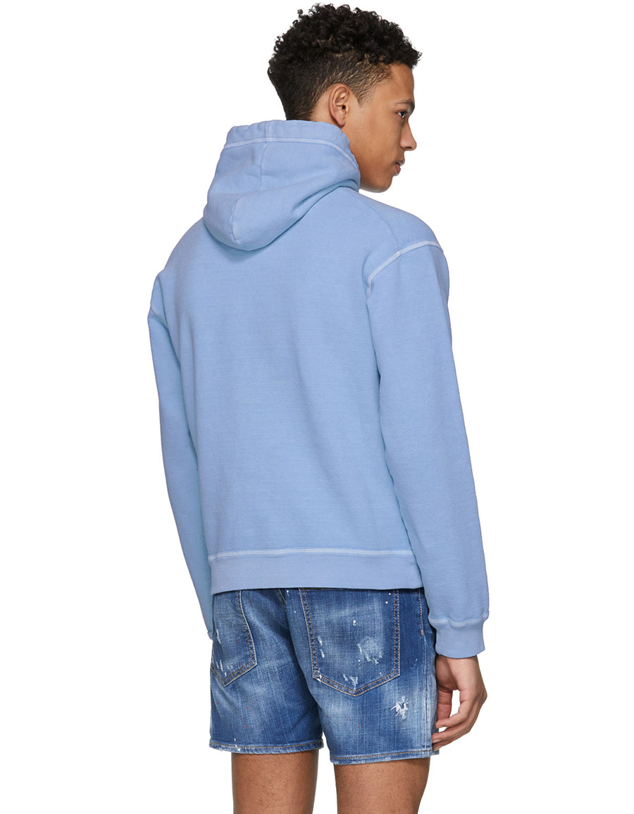 DSQUARED2 Blue Dyed Crack Logo Dan Hoodie