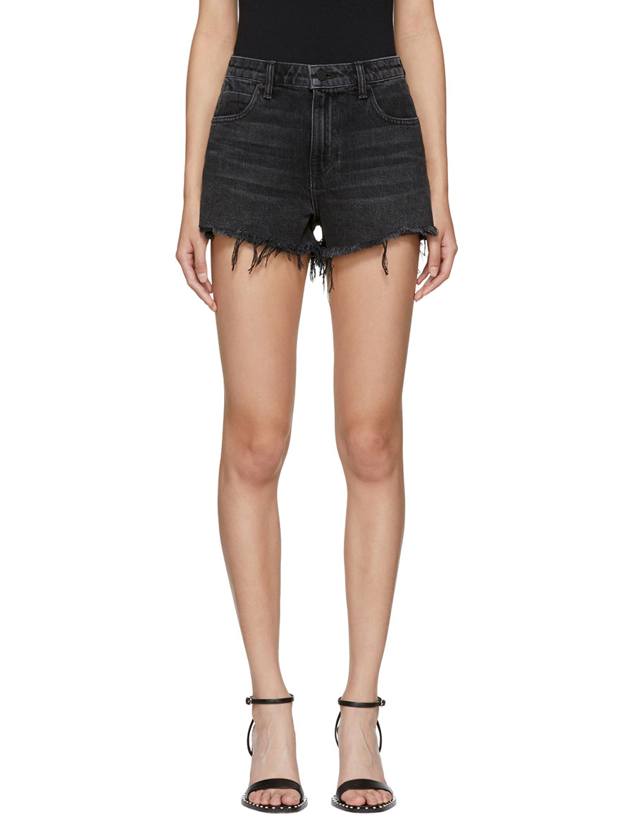 ALEXANDER WANG Grey Denim Bite Shorts
