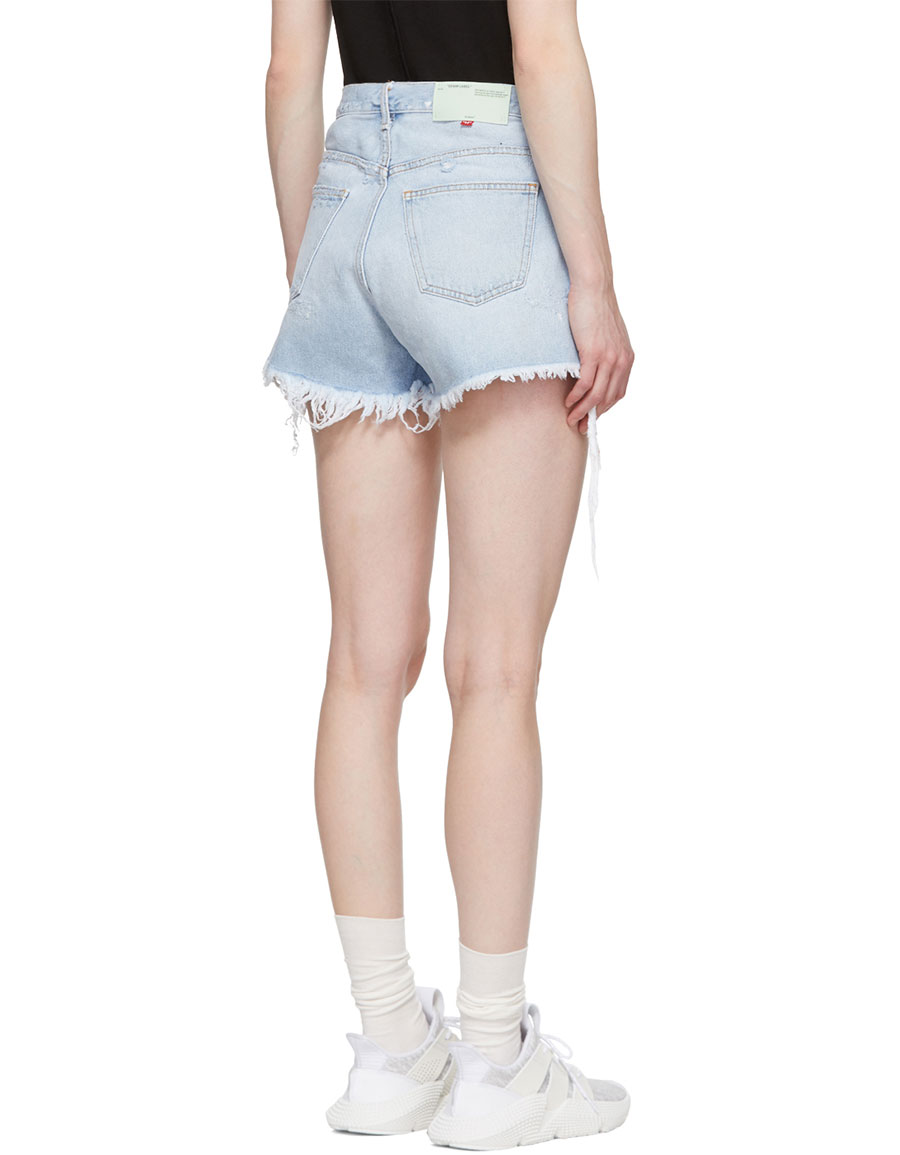 OFF WHITE Blue Denim Five Pocket Shorts