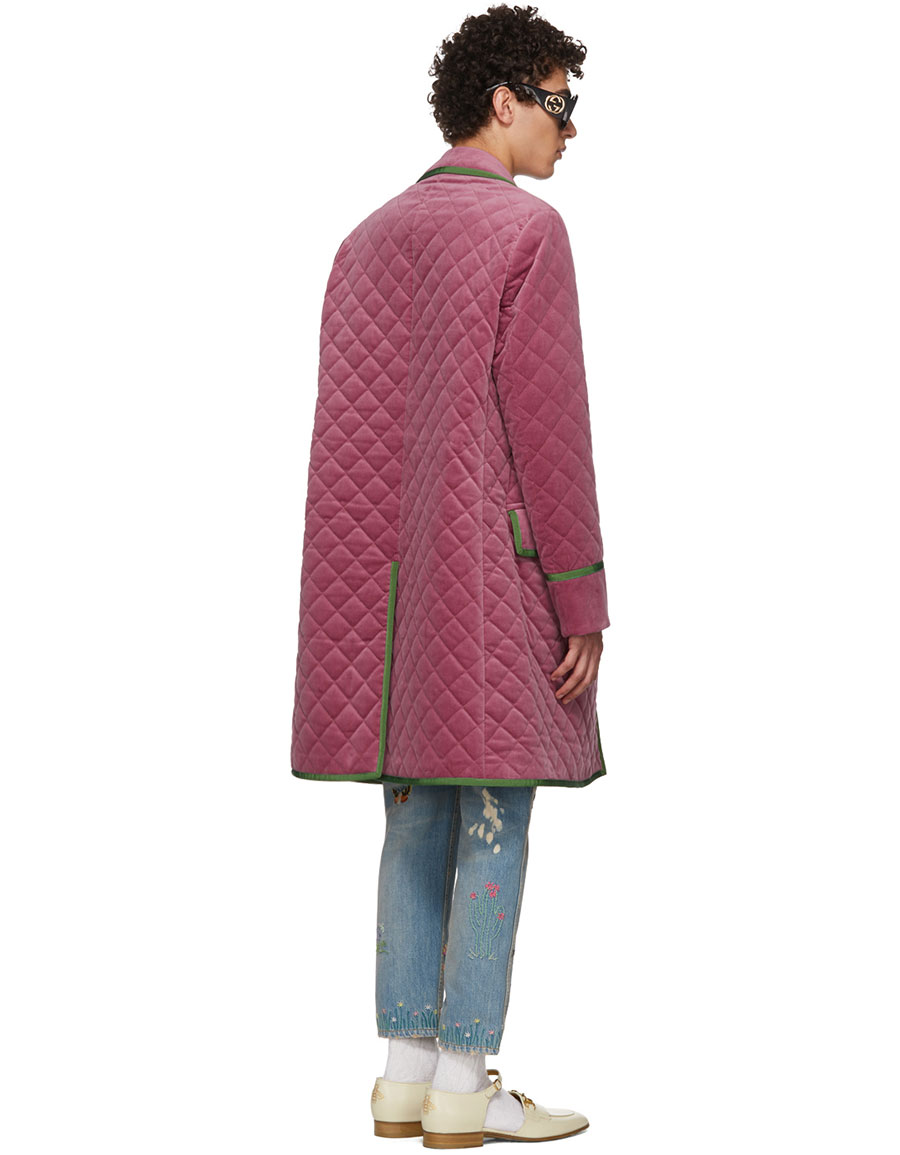 GUCCI Pink Velvet Quilted Coat