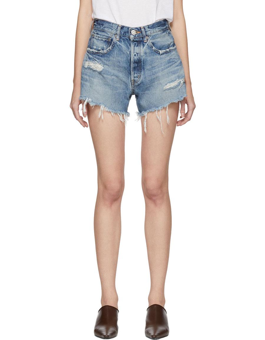 MOUSSY Blue Chester Denim Shorts