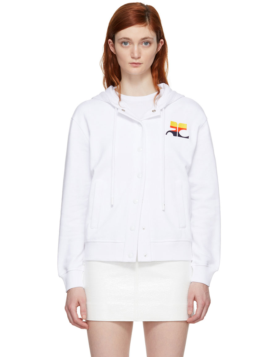 COURRÉGES White Stripe Logo Snap Hoodie