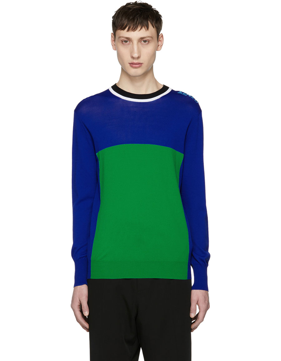 KENZO Blue & Green Colorblock Cycling Sweater