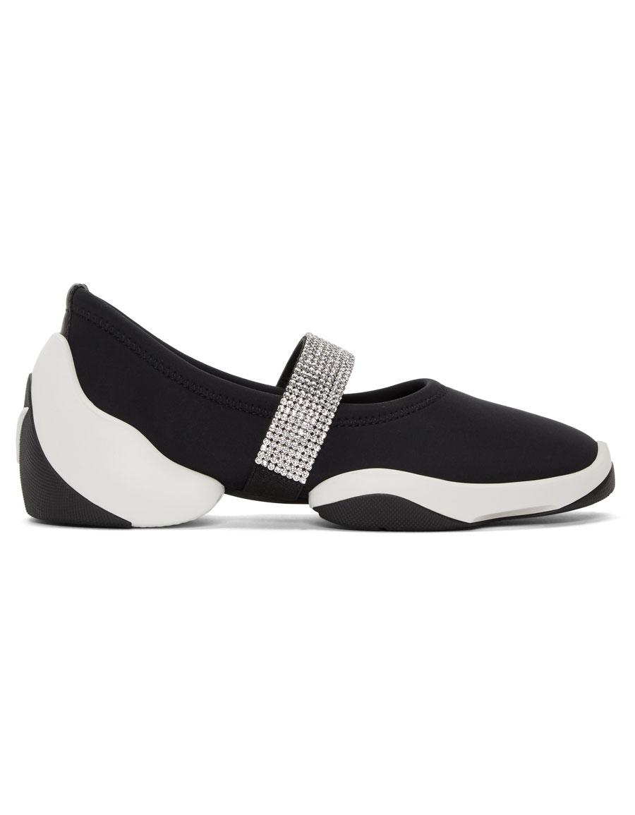 GIUSEPPE ZANOTTI Black Crystal Band Light Jump Sneakers