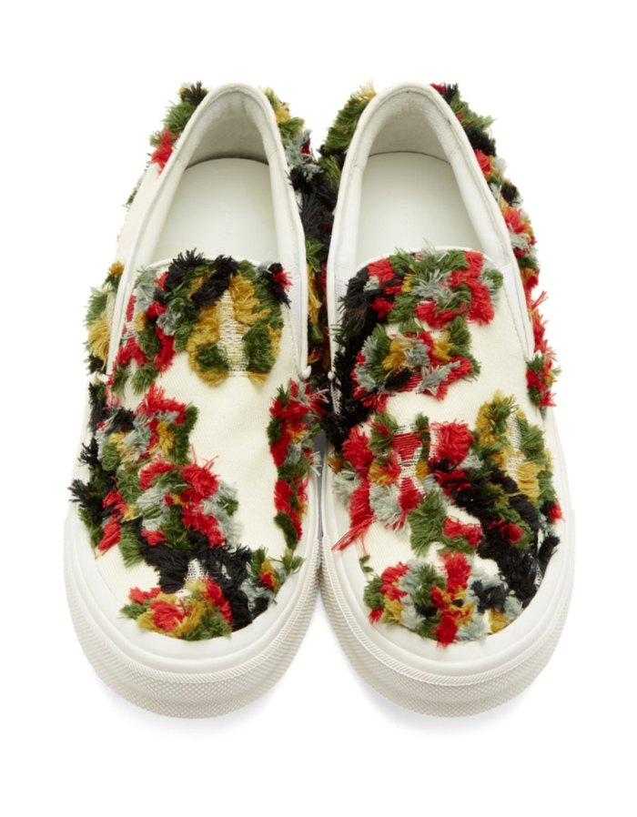 ALEXANDER MCQUEEN Off White Frayed Trim Sneakers