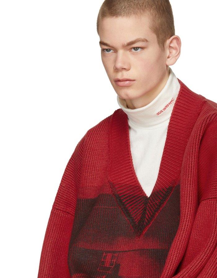 CALVIN KLEIN Red & Black Oversized V Neck Sweater