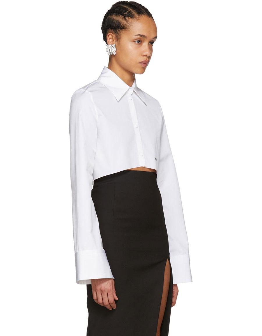 OFF WHITE White Cropped Shirt