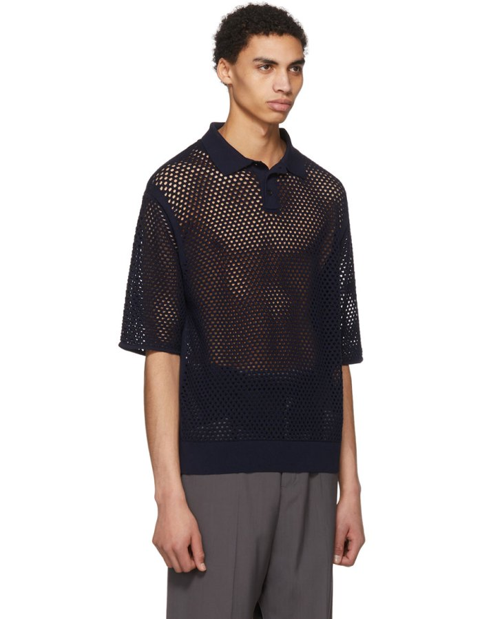 JIL SANDER Navy Mesh Knit Polo
