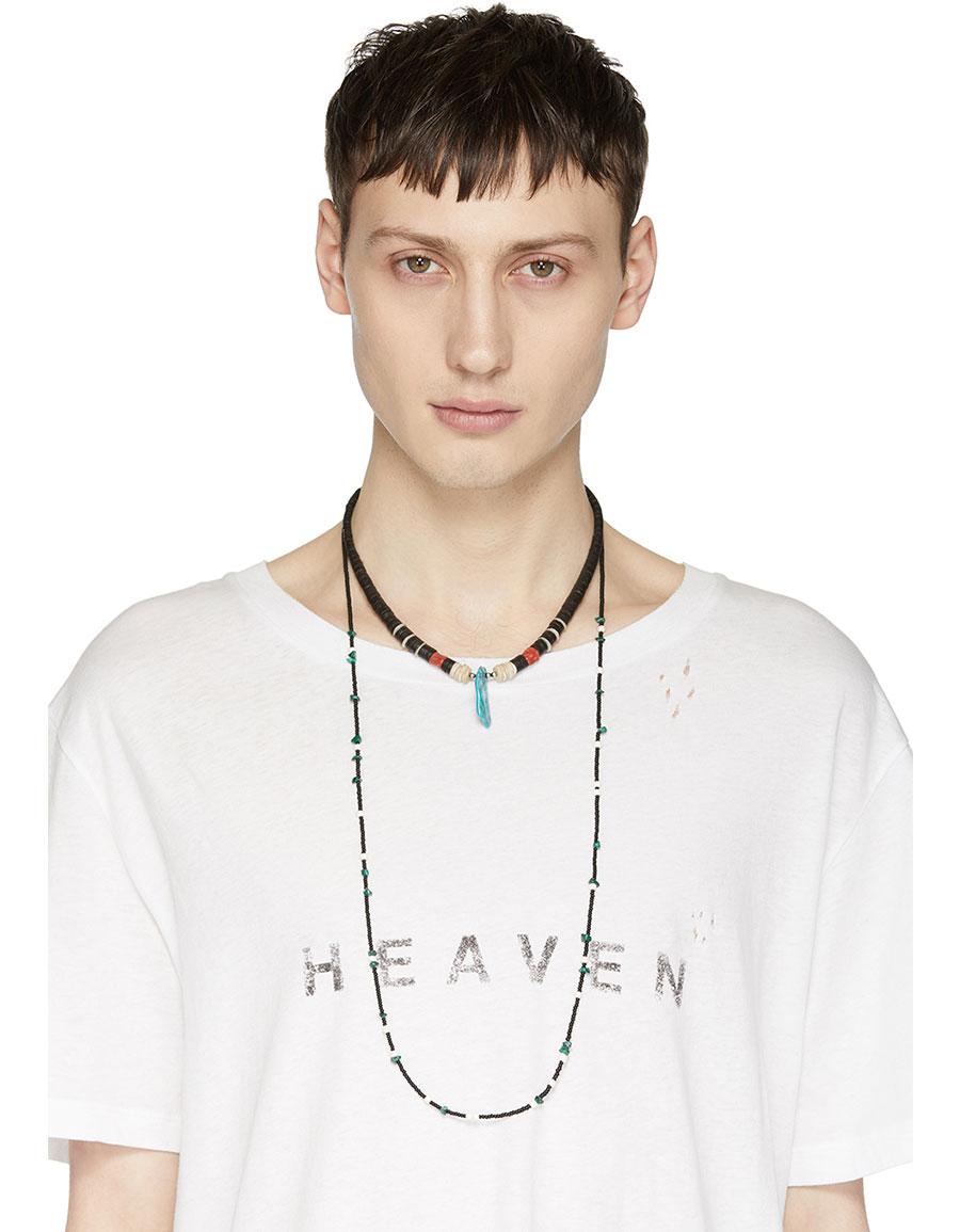 SAINT LAURENT Black Wood & Stone Necklace