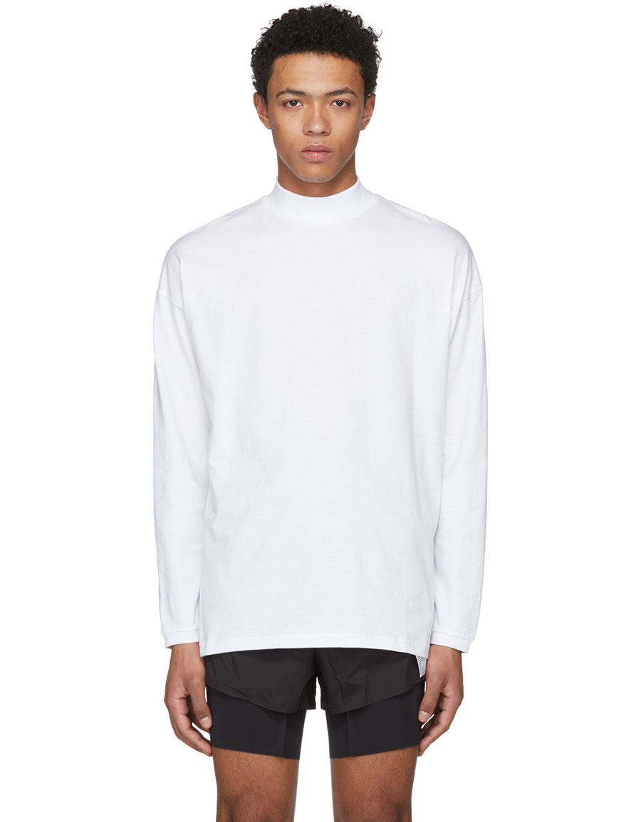 MARTINE ROSE White Classic Funnel Neck T Shirt