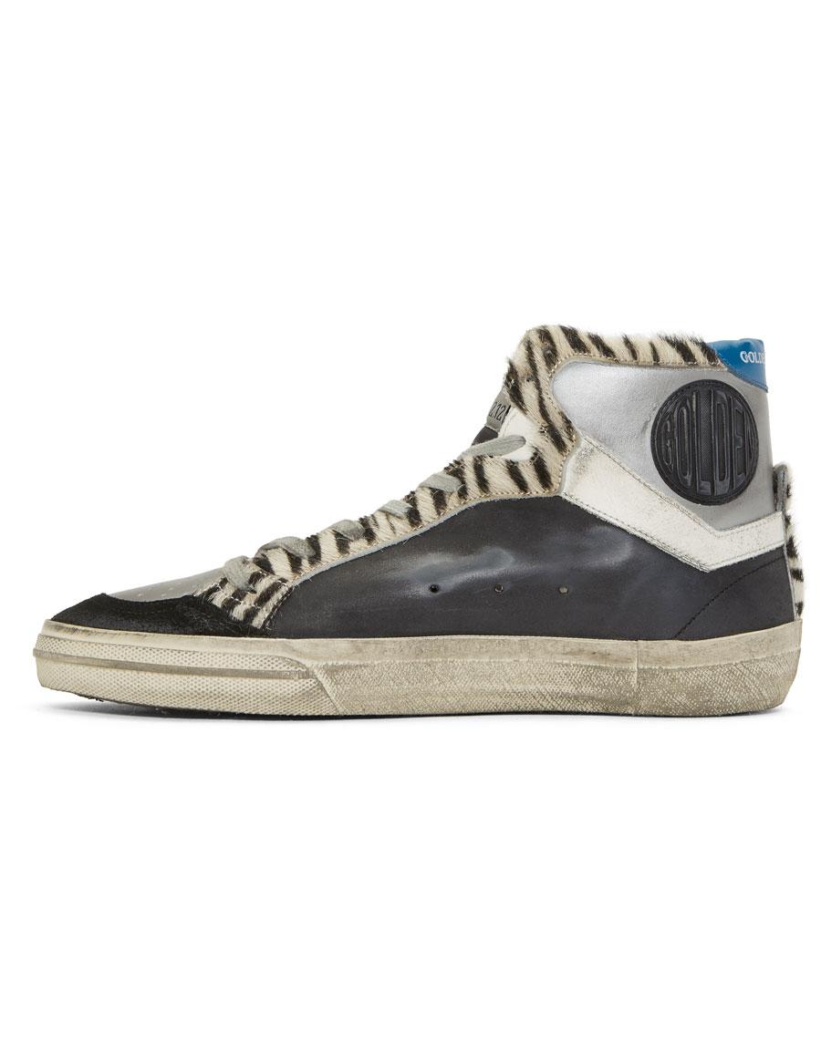 GOLDEN GOOSE Black & Silver Zebra High Top Sneakers