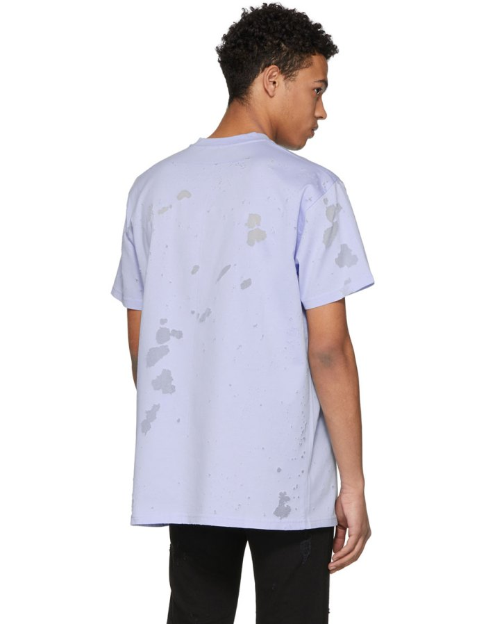 GIVENCHY Blue Distressed Colombian T Shirt