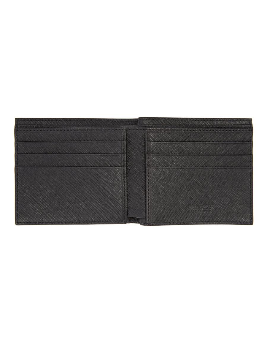 VERSACE Black Cornici Print Wallet