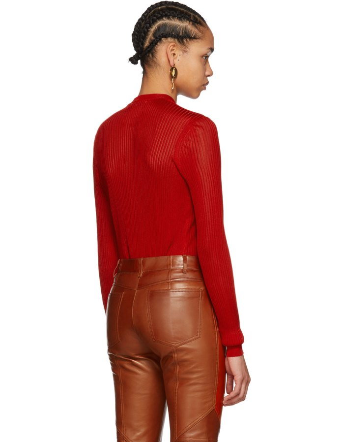 GIVENCHY Red Ribbed Crewneck Sweater