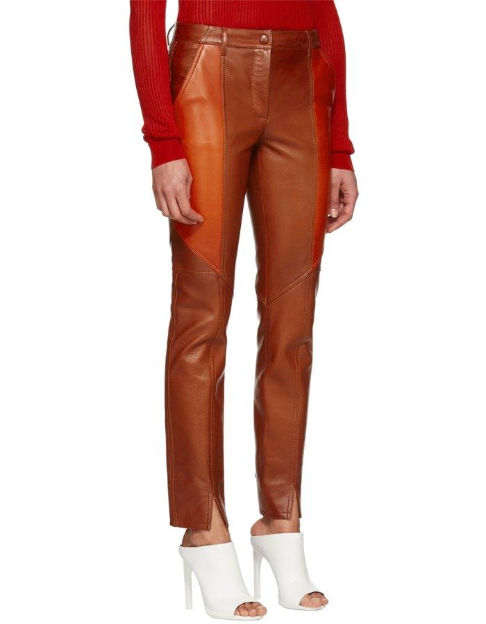 GIVENCHY Orange Leather Pants