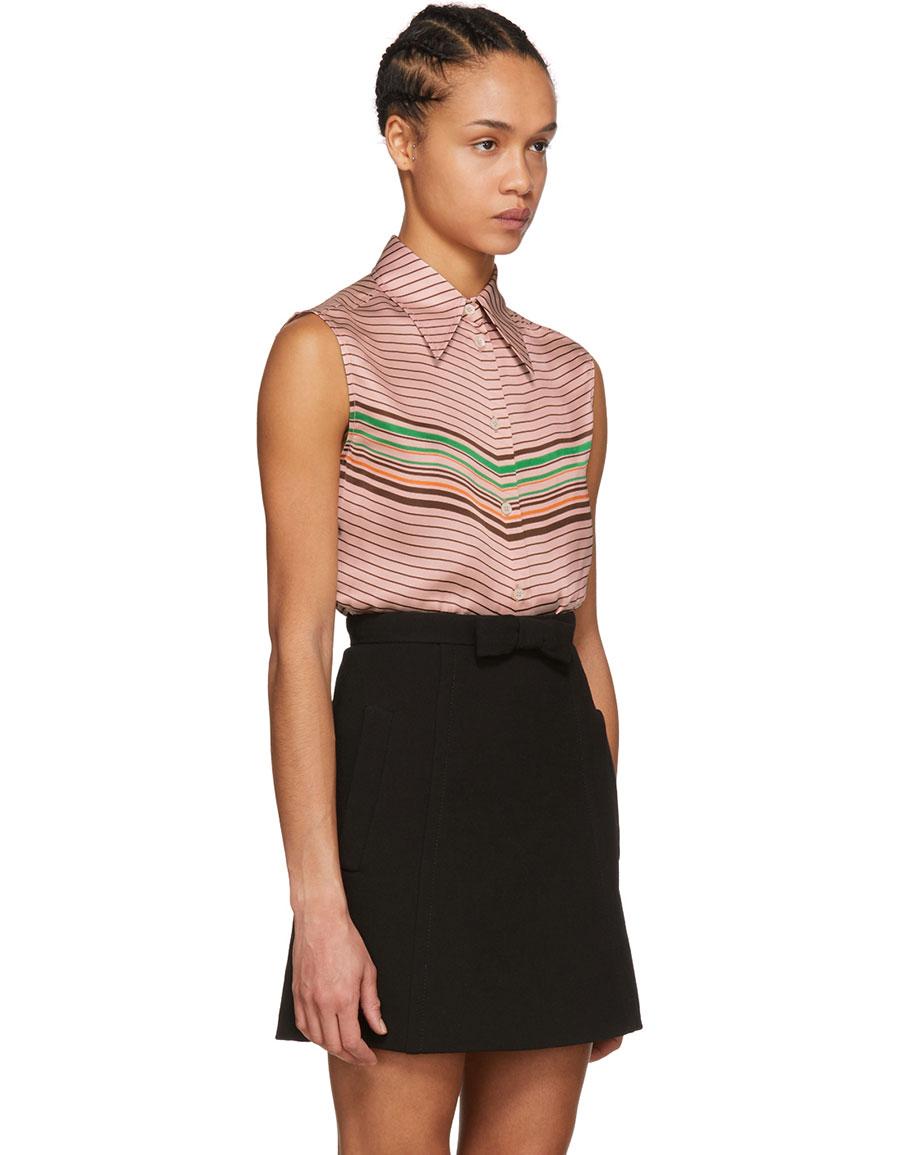 MIU MIU Pink Sleeveless Striped Shirt