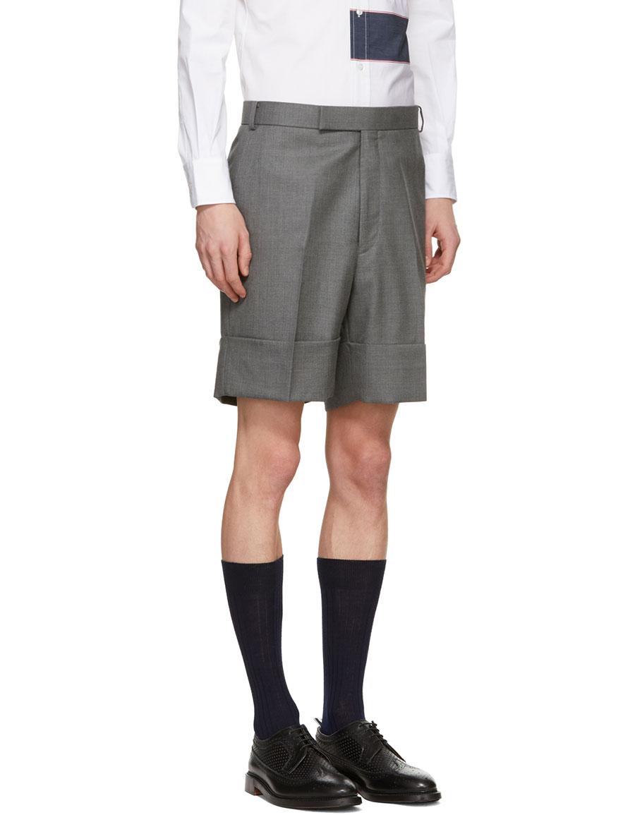 THOM BROWNE Grey Little Boy Beltloop Shorts