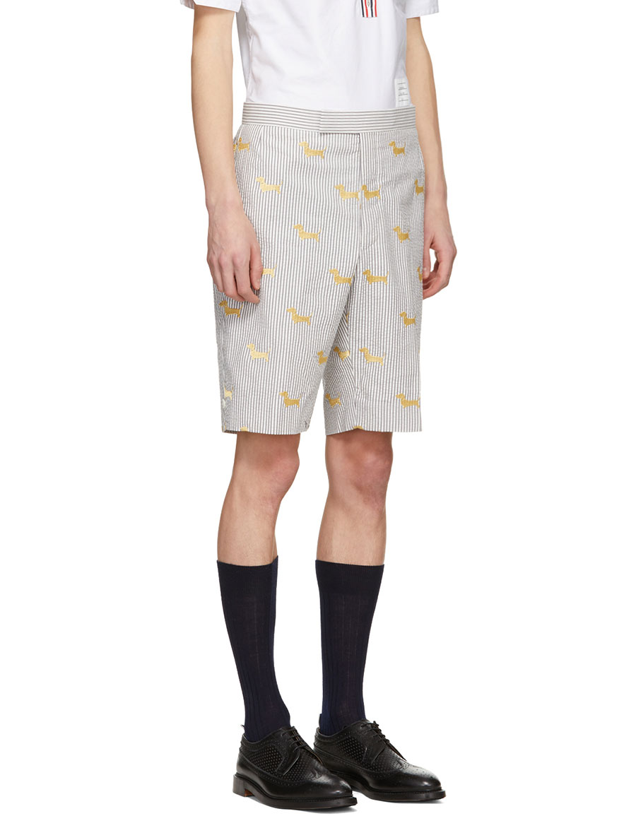 THOM BROWNE Grey & White Seersucker Hector Backstrap Shorts
