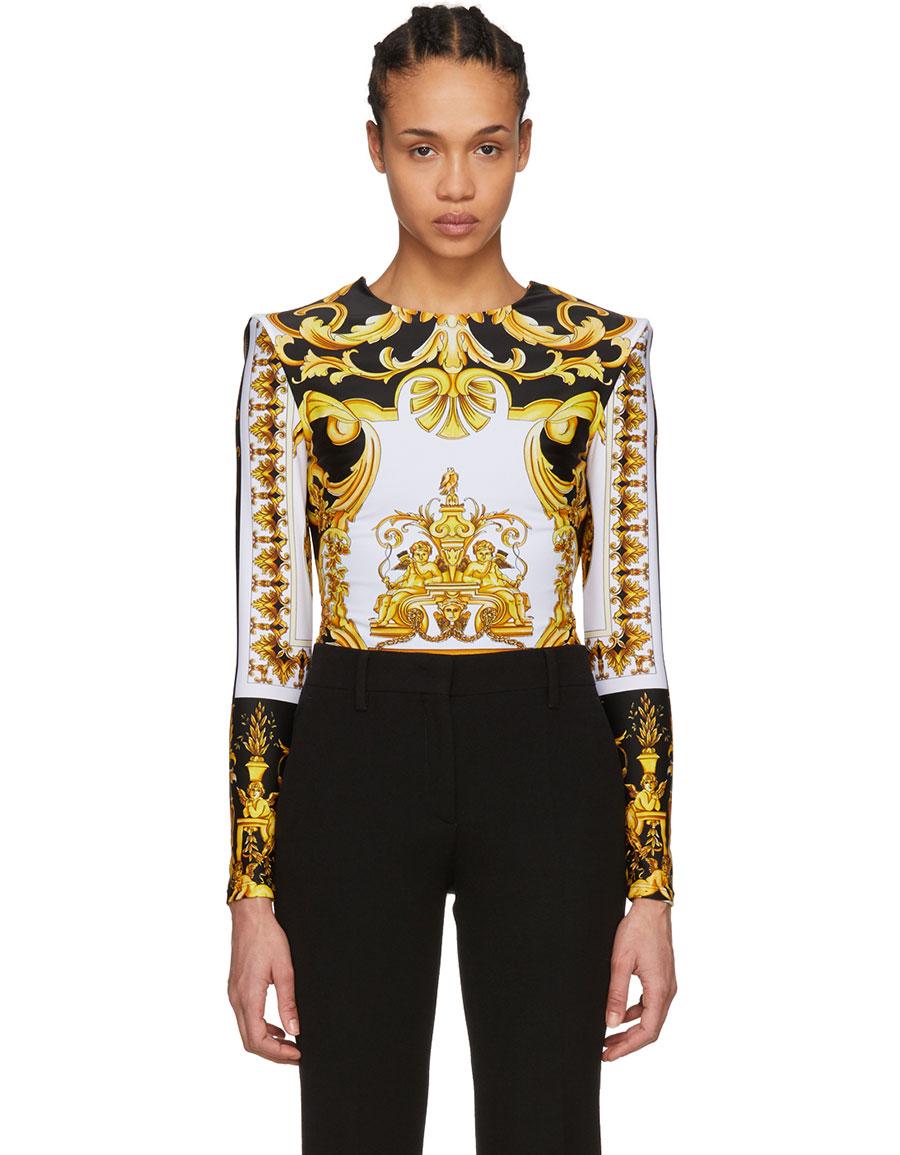 VERSACE Multicolor Long Sleeve Barroco Print Bodysuit