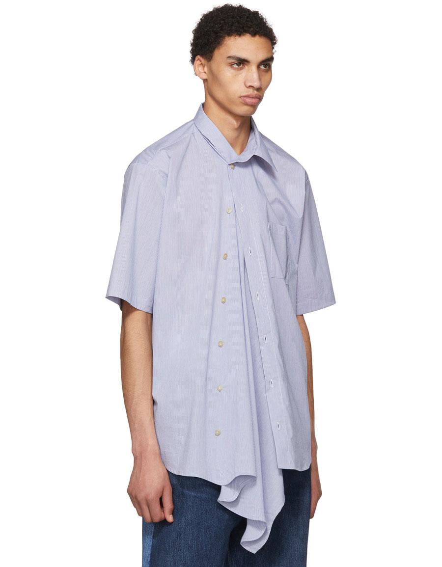 BLESS White & Blue Grid Neckerchief Shirt