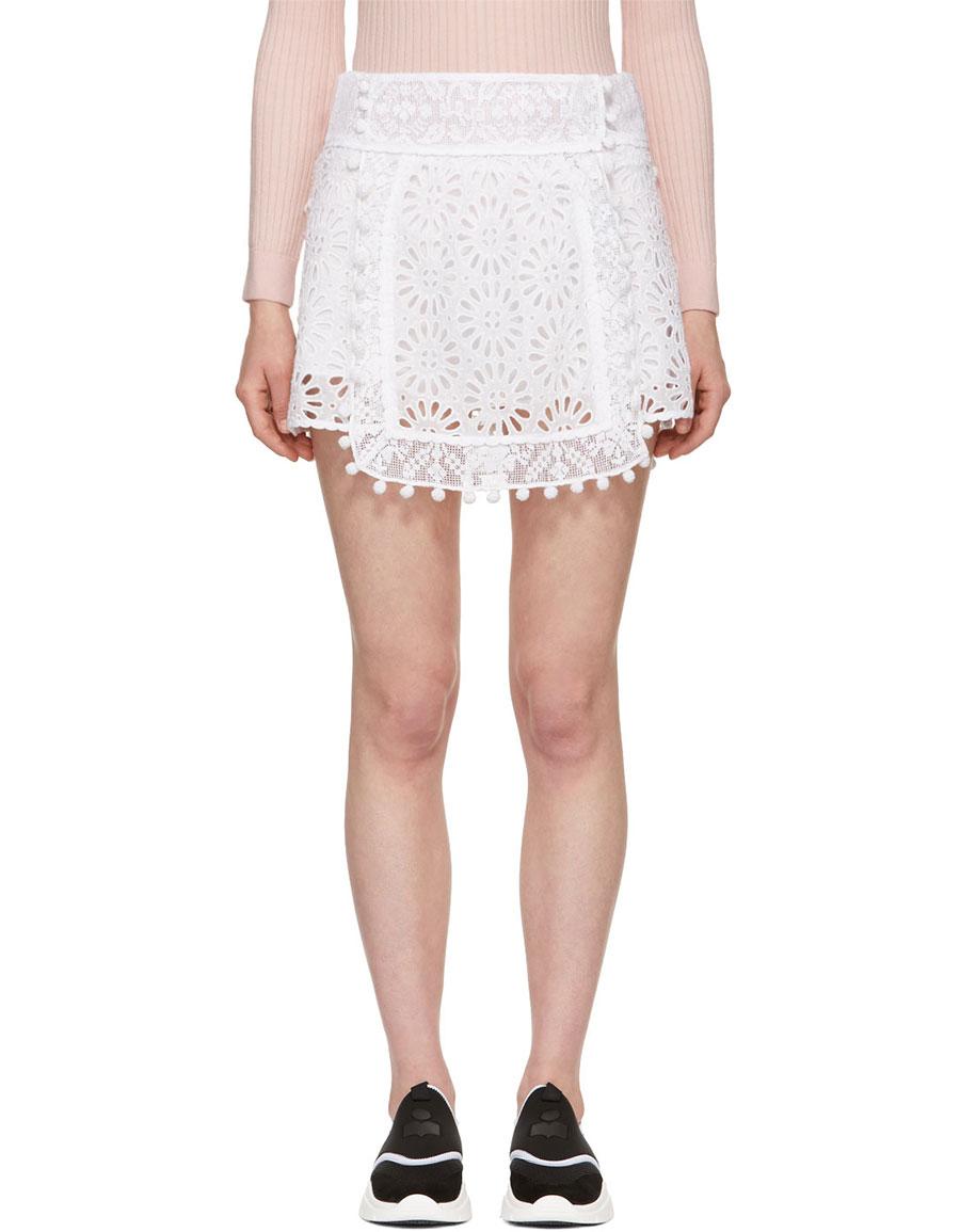 ISABEL MARANT White Broderie Anglaise Krista Skirt
