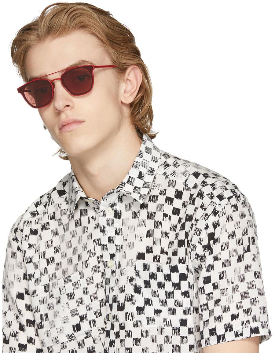 SAINT LAURENT Red Retro Square SL 28 Sunglasses