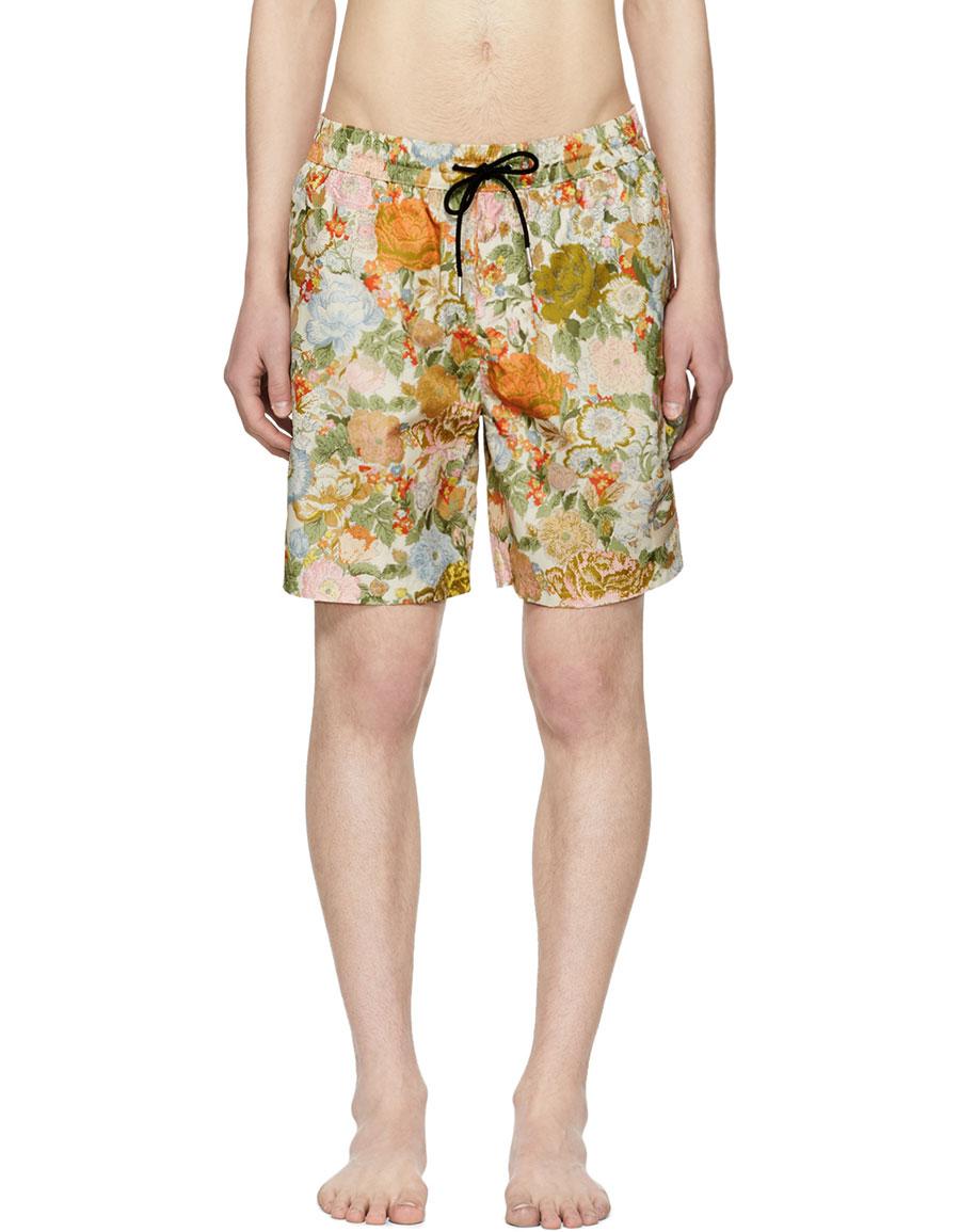 BURBERRY Orange Flower Guildes Swim Shorts
