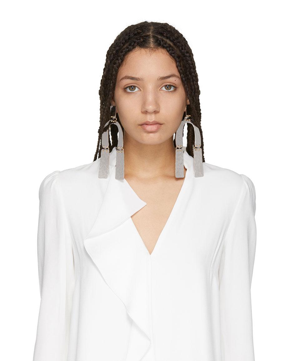 PROENZA SCHOULER Silver Medium Hammered Earrings
