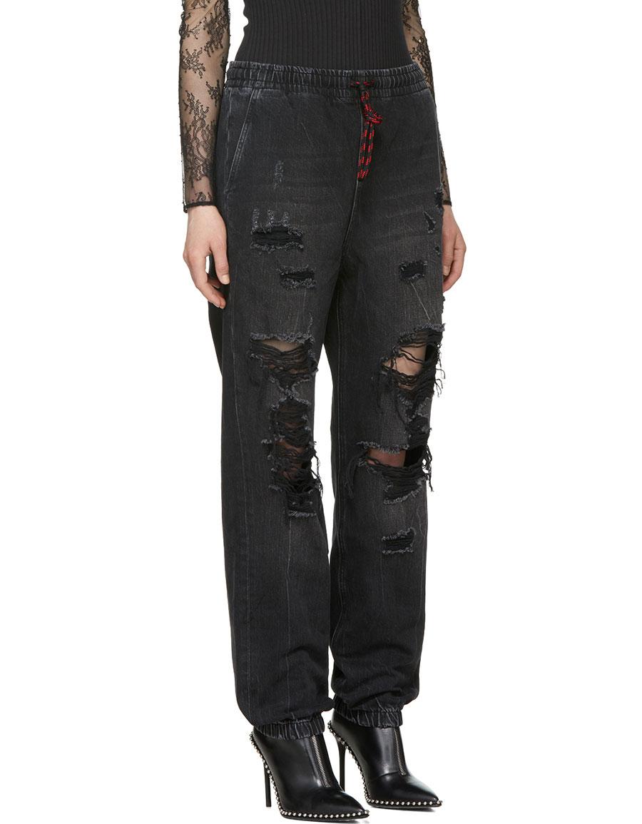 ALEXANDER WANG Black Aged Drawstring Jogger Jeans