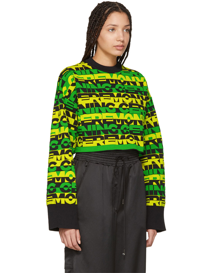 Green Racer Logo Cropped Sweater Opening Ceremony Cheap Genuine DF25q