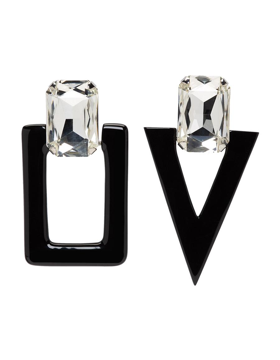 SAINT LAURENT Silver & Black Smoking Unmatched Earrings