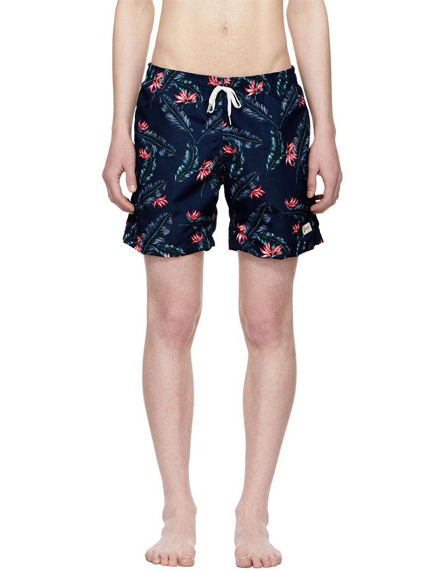 BATHER Navy Bird of Paradise Swim Shorts