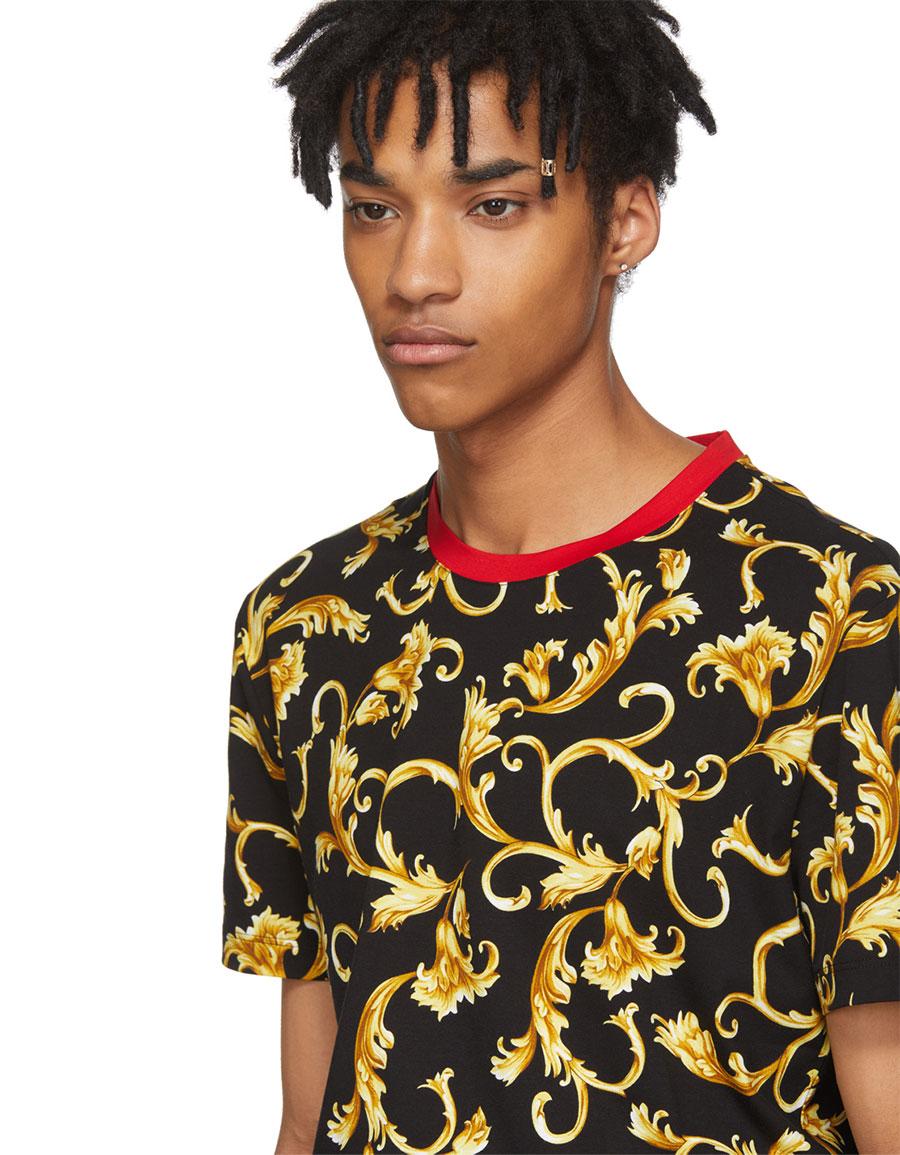 VERSACE Black & Gold Brocade Print T Shirt