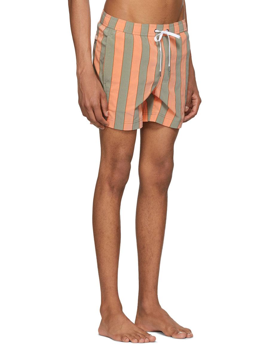 ONIA Orange & Green Striped Charles Swim Shorts