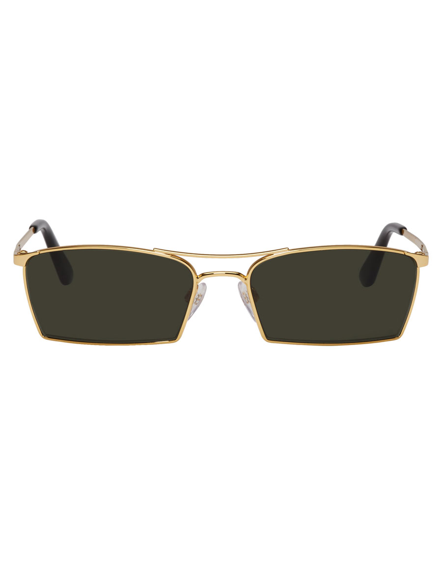 BALENCIAGA Gold Slim Double Bridge Sunglasses