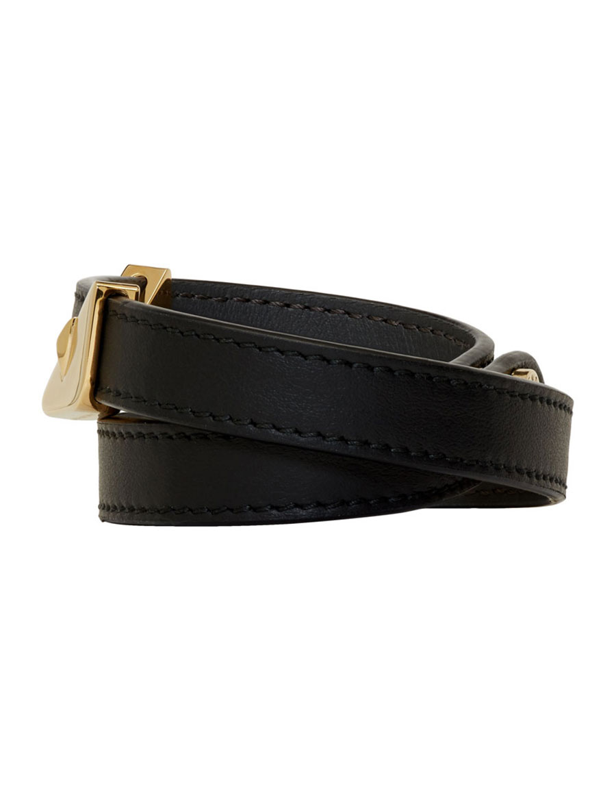 FENDI Black Leather 'Bag Bugs' Double Wrap Bracelet