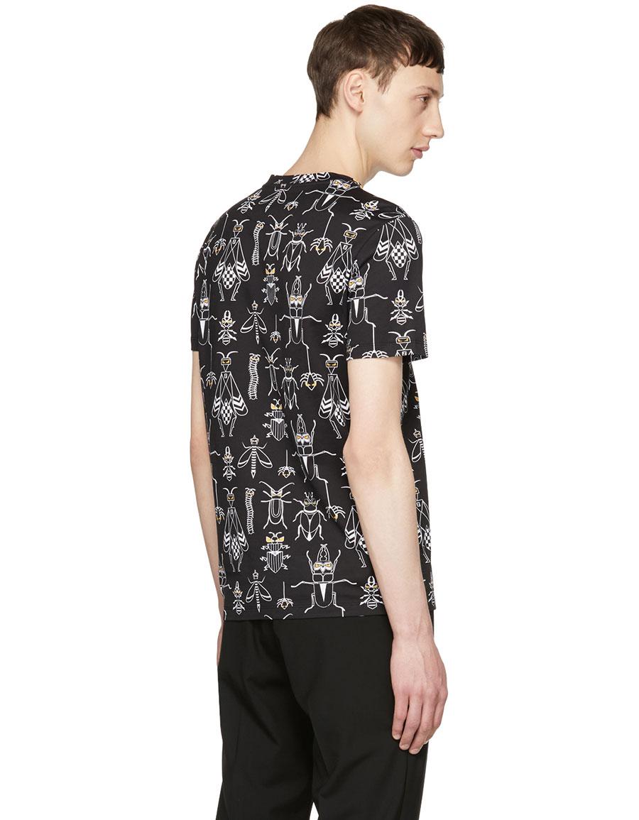 FENDI Black All Over 'Super Bugs' T Shirt