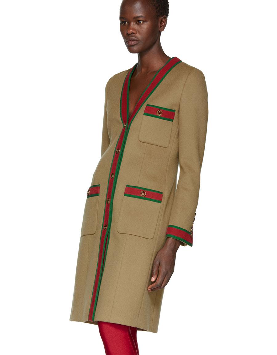 GUCCI Brown GG Webbing Coat