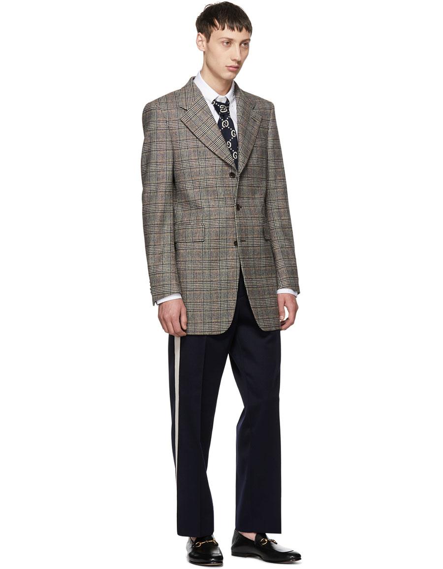 GUCCI Navy & White GG Tie