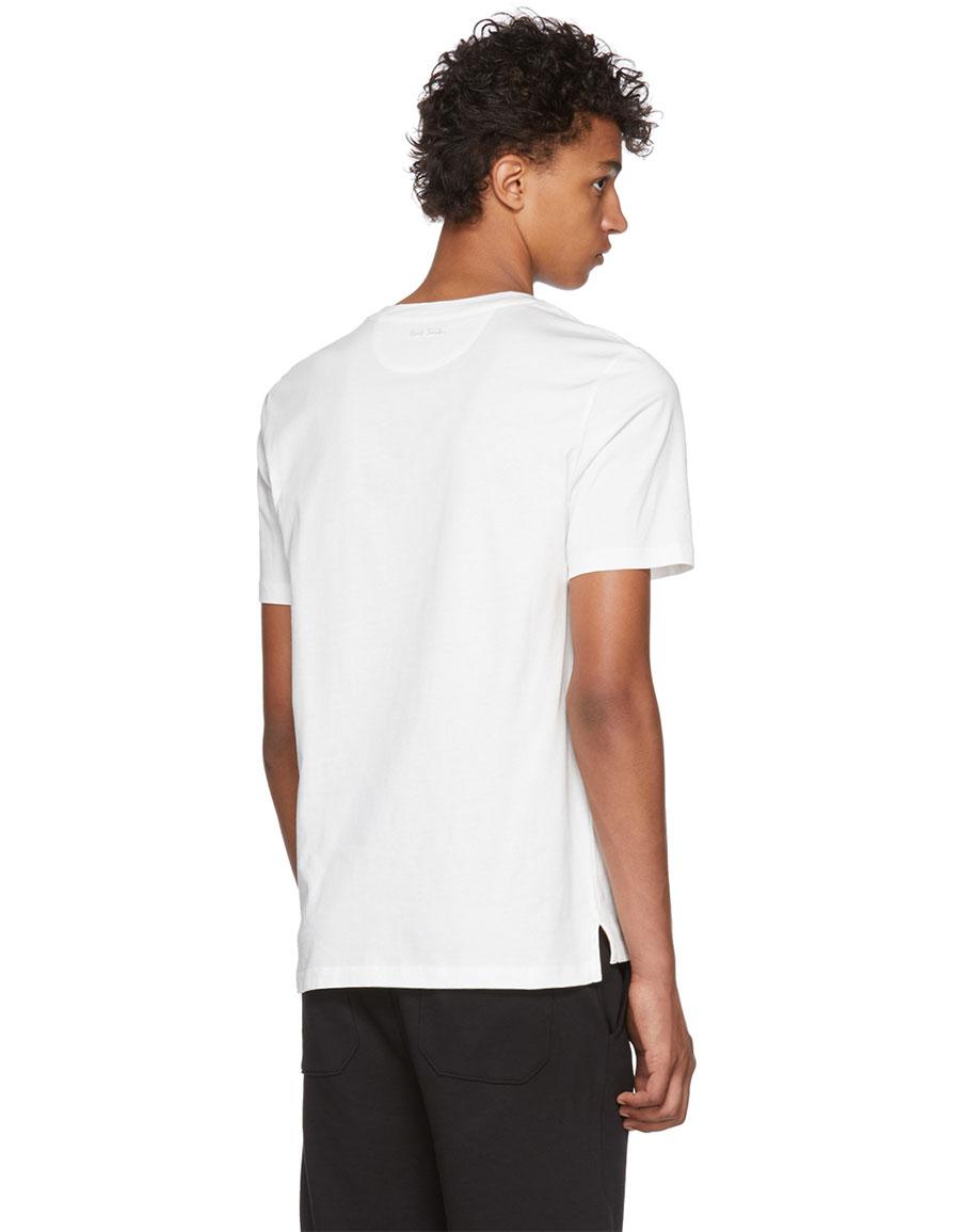 PAUL SMITH White Rose Appliqué T Shirt