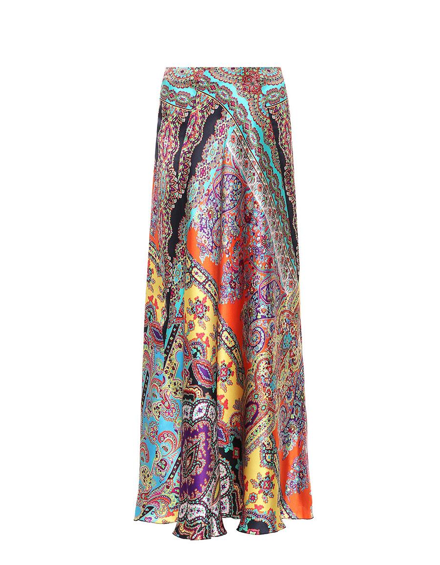 ETRO Paisley silk satin maxi skirt